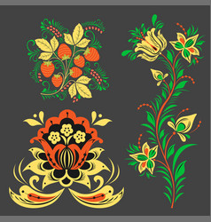 Khokhloma pattern design traditional russia vector