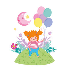 Little chubby girl with balloons air in the vector