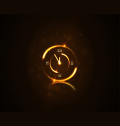 magic gold clock countdown five minute time happy vector image