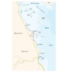 map region around egyptian region hurghada vector image