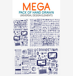 mega collection of hand drawn technology vector image vector image