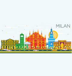 Milan skyline with color landmarks and blue sky vector