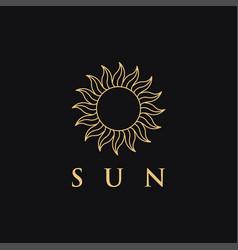 Minimalist ethnic lineart sun logo icon template vector