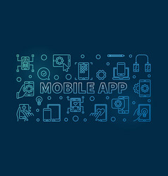 mobile app blue concept outline horizontal vector image
