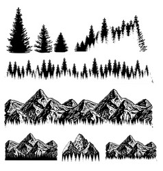 Mountains set hand drawn rocky peaks mountains vector