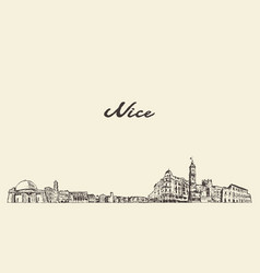 nice skyline france vintage sketch drawn city vector image
