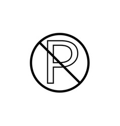 No parking line icon prohibition sign vector