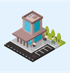 Office isometric buildings isolated vector
