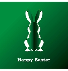 Paper rabbit on a green background vector image