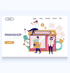 pawn shop website landing page template vector image