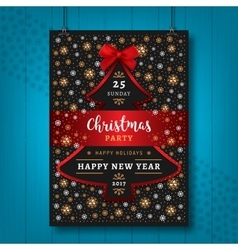 Poster party christmas happy new year flyer vector