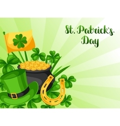 Saint Patricks Day greeting card Flag pot of vector