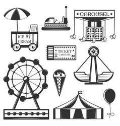 Set of amusement park isolated icons and vector