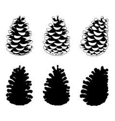 set of different pine cones vector image