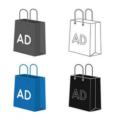 Shopping bag advertising icon in cartoon style vector