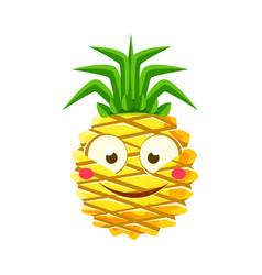 shy funny pineapple emoticon cute cartoon emoji vector image