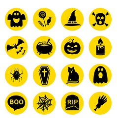 simple silhouettes icons set for halloween vector image
