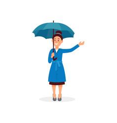 smiling girl in raincoat standing under blue vector image