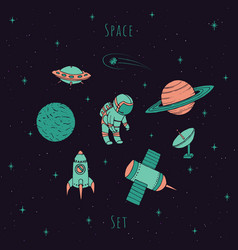 space set with cosmonaut satellites ufo planets vector image