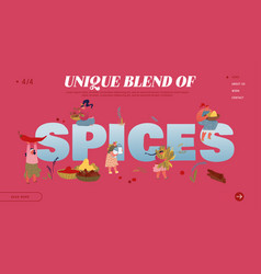 Spice and seasoning website landing page women vector