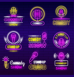 standup show retro microphone comedy club neon vector image