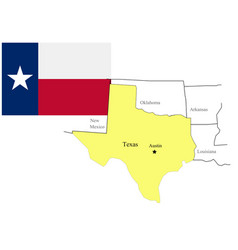 state north texas usa flag and map vector image