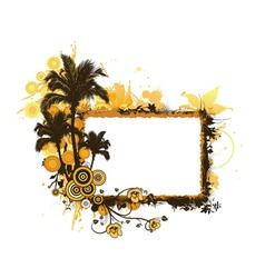 Summer grunge floral frame vector