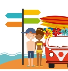 Surf board couple cartoon and truck icon Summer vector image