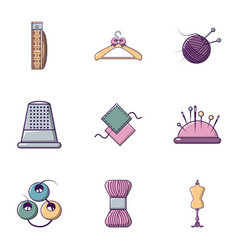 Tailor icons set flat style vector