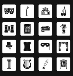 Theater icons set squares vector