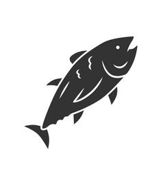 tuna glyph icon swimming marine fish underwater vector image