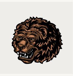 vintage colorful ferocious bear head vector image