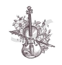 Vintage fiddle hand-drawn retro the violin vector