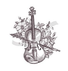 vintage fiddle hand-drawn retro violin and vector image