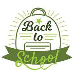 welcome back to school sign in green colors vector image