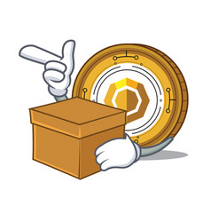 with box komodo coin character cartoon vector image