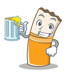 with juice cigarette character cartoon style vector image