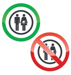 Young family permission signs vector