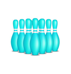 bowling pins in turquoise design with white stripe vector image