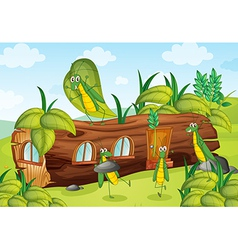 Grasshoppers and a house vector image