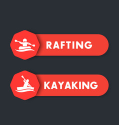 Kayaking rafting icons labels banners vector