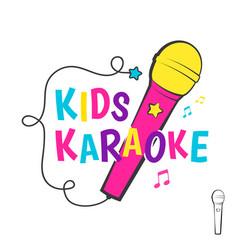 kids karaoke emblem vector image