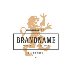 lion hand drawn logo isolated on white background vector image vector image