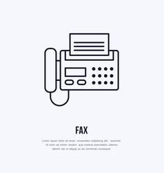 fax phone with paper page flat line icon wireless vector image vector image
