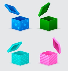 four gift boxes and flying cover over them vector image vector image