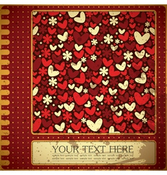 Grunge card with flowers and hearts vector image