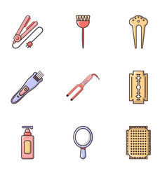 Hairdressing salon icons set flat style vector
