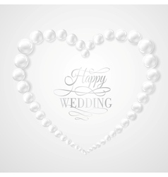 Pearl in heart shape on white background vector image