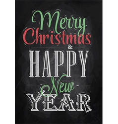 Poster Merry Christmas Happy chalk color vector image