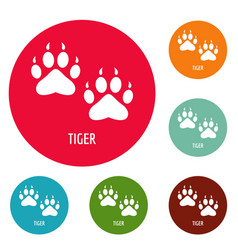tiger step icons circle set vector image